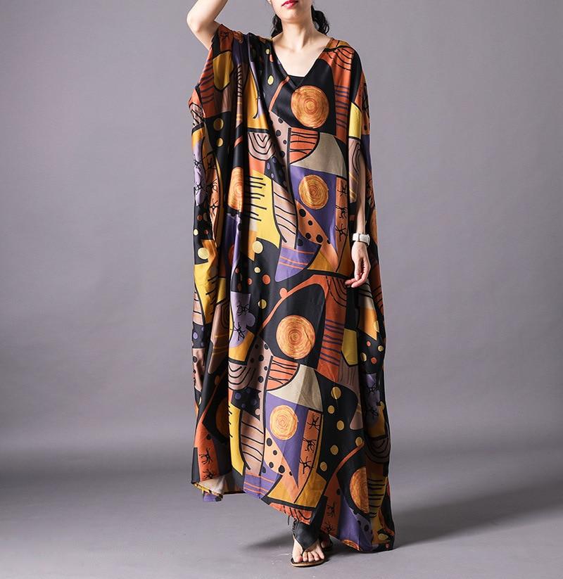 Women Summer Bat Sleeve Printed Plus Size Dress Ladies Print Elegant V neck Robe Dress Femal