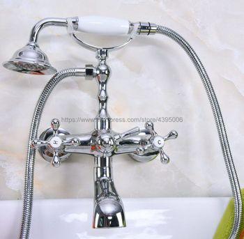 Polished Chrome Wall Mount Bathtub Faucet Dual Handles with Handshower Bathroom Tub Mixer Taps Bna188