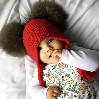 Winter Hat Baby Pom Pom Beanie Warm Knitted Bobble Kids Fur Pompom Hat Children Real Raccoon
