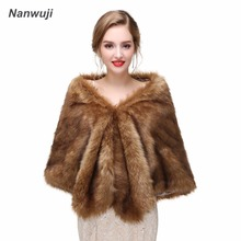 Champagne Faux Fur Wrap Evening Stoles And Wraps Faux Fur Shrug Wedding Jacket Bolero Wedding Bolero Bridal Winter Coat blue flower girl faux fur cape child kid winter jacket hooded wrap bolero with hand muff evening prom coat outwear cloaks