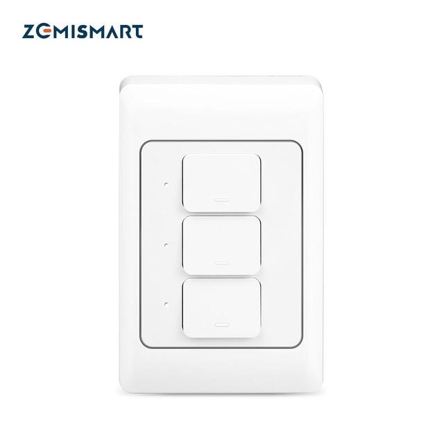 Zemismart WiFi TREO TƯỜNG Đẩy Công Tắc Đèn Làm Việc Với Alexa Google Nhà Cho Phép Tuya Cuộc Sống Thông Minh Ứng Dụng Điều Khiển Mỹ 1 2 3 Băng Đảng