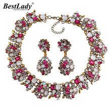 Best lady Big Brand Gem Vintage Crystal Chunky Statement Necklace Maxi Collier Femme Luxury Maxi Choker Necklace Wholesale