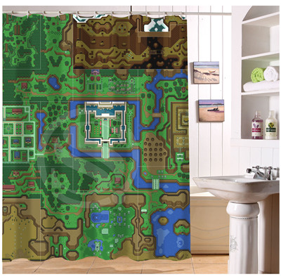 U408 17 Custom Home Decor The Legend Of Zelda Map Background Fabric Moden Shower Curtain European Style Bathroom Waterproof In Curtains From