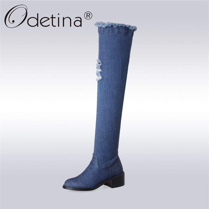 Odetina 2017 Fashion Denim Over The Knee Boots Chunky Heel Round Toe Thigh High Jeans Boots Side Zipper Fall Winter Big Size 43 odetina 2017 new fashion autumn winter women thigh high boots blue denim over the knee boots high block heel shoes plus size 43