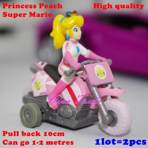 1lot 2pcs Super Mario Kart Princess Peach Pull Back