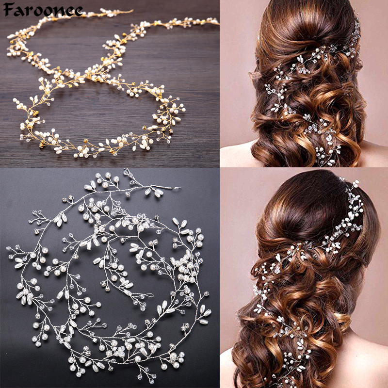 Faroonee Wedding Headdress Simulated Pearl Hair Accessories For Bride Crystal Crown
