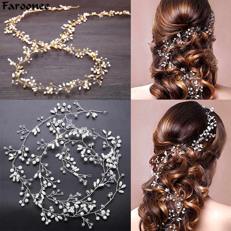 Faroonee Wedding Headdress Simulated Pearl Hair Accessories for Bride Crystal Crown Floral Elegant Hair Ornaments Hairpin 6C0193