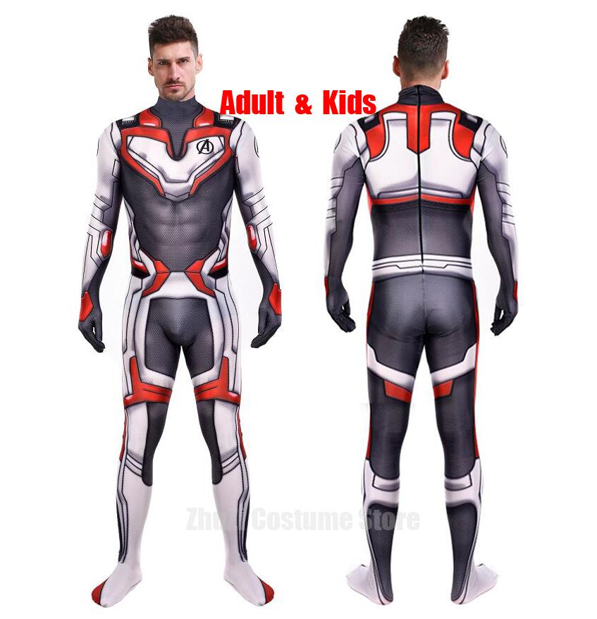 high quality Avengers Endgame Quantum Realm Cosplay Costume superhero Iron Man Captain Marvel Zentai Bodysuit Suit Jumpsuits