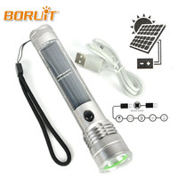 3W Solar Flashlight Work Lamp Portable Outdoor Sport Camping Hiking Lighting 3 Modes USB Rechargeable Power