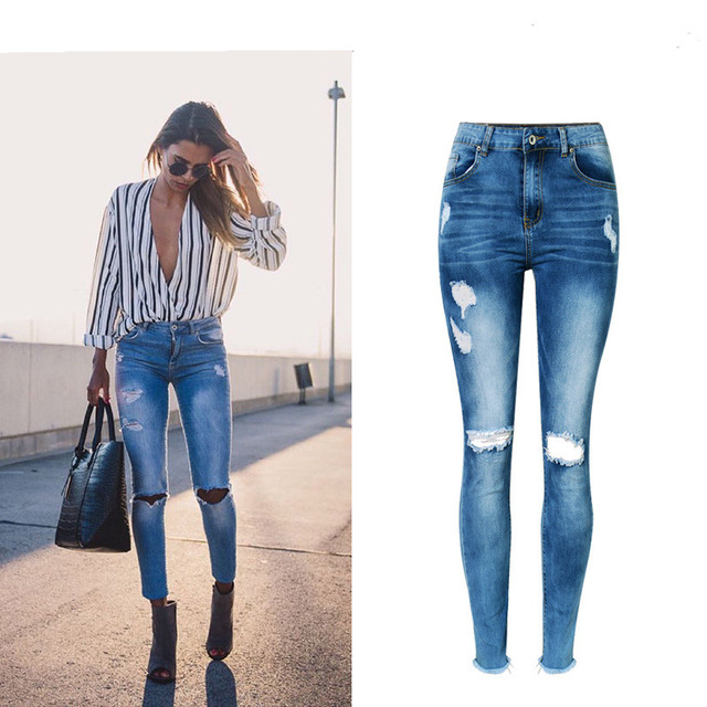 eed75a768a Jeans High Waist Ripped Hole Women Boyfriend Jeans Navy Blue Cotton Skinny  Denim Push Up Bleached