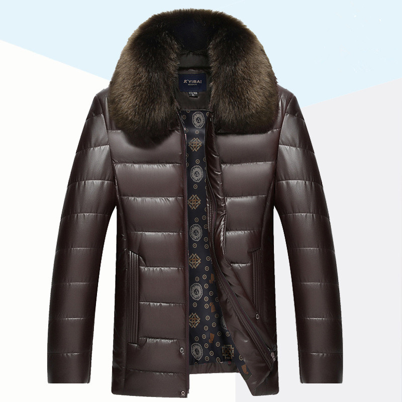 стоимость  2016 New Men Thick Warm Winter Jacket Cotton Coat Fashion Slim Fit Quilted Long Removable Imitation Mink Collar Jacke  в интернет-магазинах