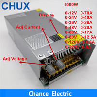 Adjustable 1000W switching power supply with Digital Display adjustable power supply dc 12V 24V 36V 48V 60V 80V 120V 220V
