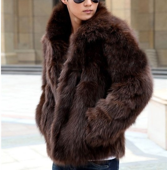 New Fashion Male Mens Faux Fur Winter Warm Thicken Coats Outerwear Overcoat Slim Fashion Jackets Plus XXXL Y1880
