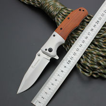 440 Blade Survival Knife BROWNING Folding Knife Wood Handle Pocket Hunting Tactical Knives Camping Outdoor EDC Tools bL10