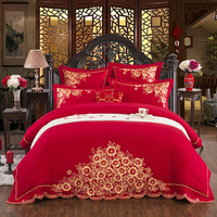 4/7Luxury Egyptian Cotton gold Embroidery Bedding set wedding Bed set King Queen Size red Duvet cover Bedsheet set