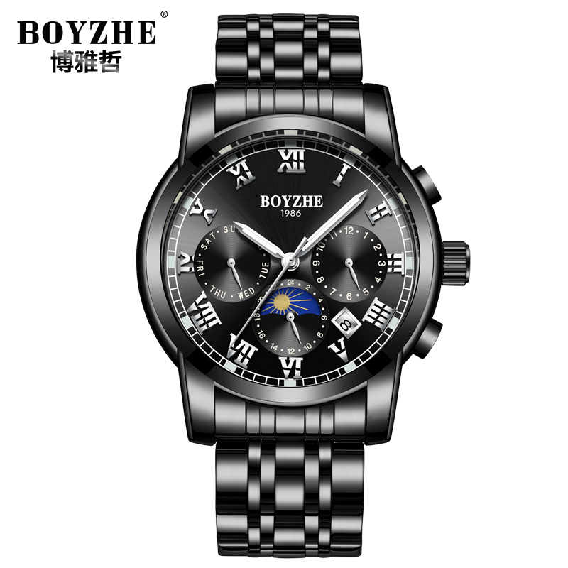 Mechanical Watch for men Black luminous Dial Moonphase Watch Week and Date Chronograph Movement fully Automatic Watch цена