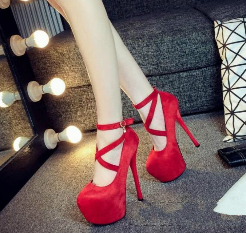 Catwalk models super high heels font b woman b font Fine with waterproof 16CM Cross straps