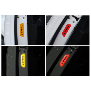 Image 3 - 4 Colors 4 Pcs Door Safety Reflective Warning Stickers Car DIY Safety Mark Auto Decor Night Lighting Luminous Tapes Car styling