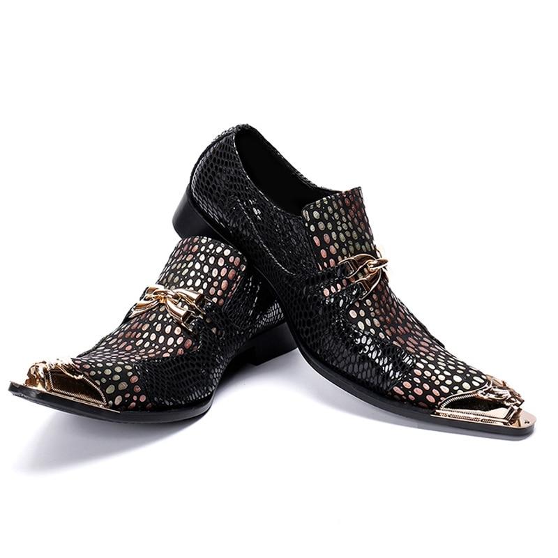 Bout Chaussures Hommes Italien De Glissement Main Cuir Luxe Mocassins Les Sur Verni Homme Pointu Casual Party Incliné En Métallique Sl433 Noir qBCE5wC