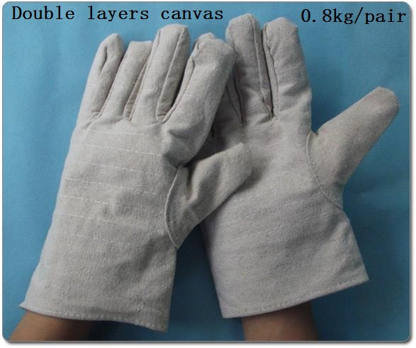 Double Layers Of The Canva Handling Welding Gloves Wear-resisting  Protective Work Gloves купить