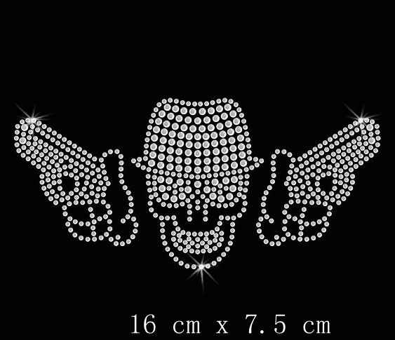 Free Shipping Gangster Skull Guns Iron On Rhinestone Transfer In Rhinestones From Home Garden Aliexpress