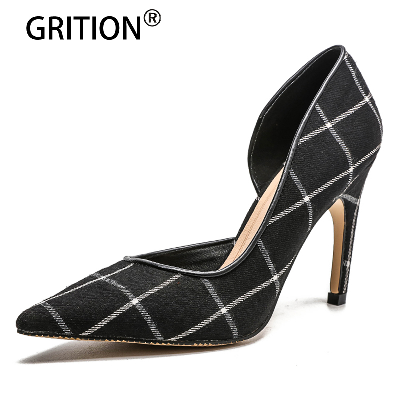 GRITOIN 2018 New Spring/Autumn Fashion High-heel Shoes Sexy Pointed Toe Thin Heels Women Pumps Lightweight Comfortable siketu 2017 free shipping spring and autumn women shoes fashion high heels shoes wedding shoes sex was thin pumps g230
