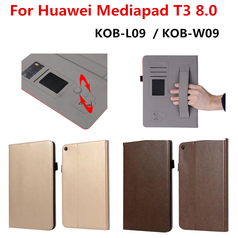 Luxury Flip PU Leather Case for Huawei T3 8.0 KOB-L09 KOB-W09 Stand with Card Slots for Huawei MediaPad T3 8.0 inch Tablet Cover luxury pu leather case cover for huawei mediapad m3 lite 8 0 cpn w09 cpn al00 8 tablet flip wallet stand cover with card slots
