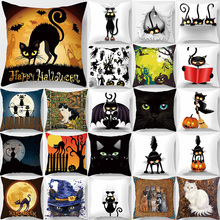 Halloween funny cute cats pillow case double sides pattern square pillow cases high definition cat pattern pillow cover 45*45cm high quality horizontal block friends happy life pattern pillow case