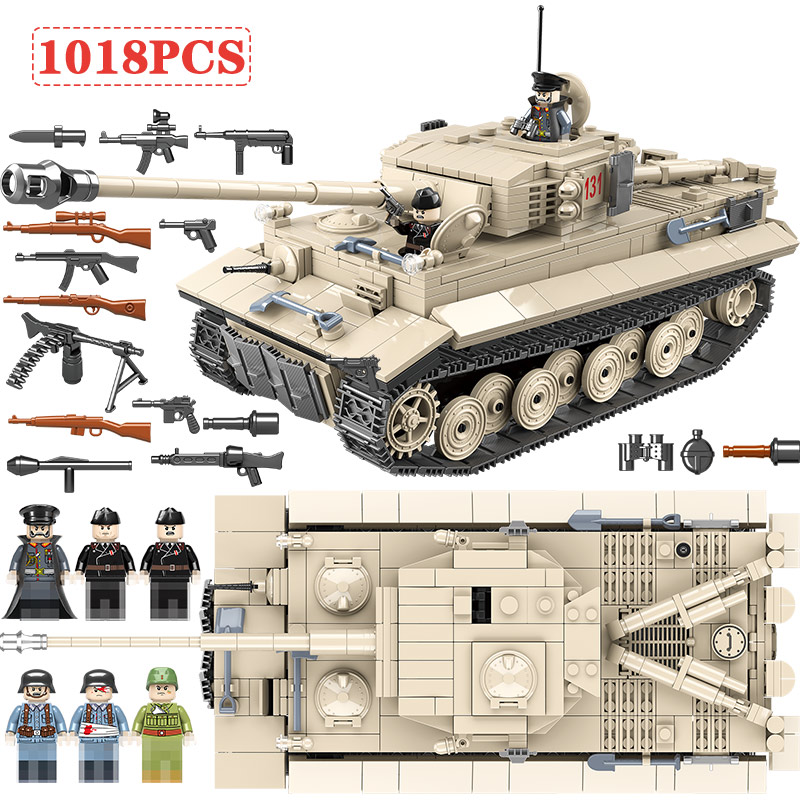 Military Army WW2 German King Tiger 131 Tank Soldier Weapon Building Blocks 1018pcs Bricks Toys for Boys Compatible with LegoedMilitary Army WW2 German King Tiger 131 Tank Soldier Weapon Building Blocks 1018pcs Bricks Toys for Boys Compatible with Legoed