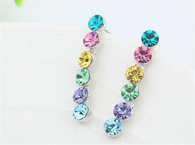 2017 Fashion Jewelry For Women Austrian Crystal Earrings Korean Earrings For Girls Brincos Earrings 5 Colors Wedding Bijoux Gift