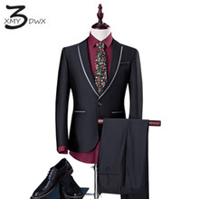 XMY3DWX (jackets+pants) New Fashion Men Suit Brand Men's BLAZERS Business Slim Clothing Suit Two-piece fits for Wedding S-4XL