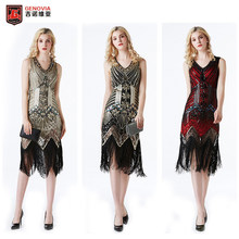 Deluxe 20s dress 1920s Roaring Flapper Costume Sequin Gatsby 20's Fancy Dress(China)