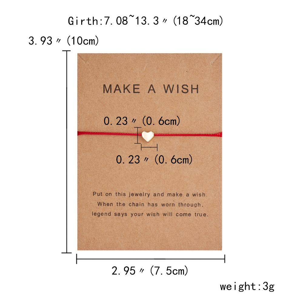 10 7 5cm Make a Wish Papper Card Love Woven Adjustable Bracelet Fashion Jewelry Gift For