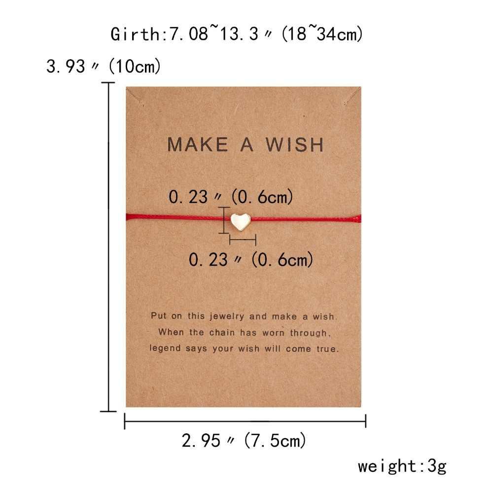 10*7.5cm משאלה Papper כרטיס אהבה ארוג מתכוונן צמיד תכשיטים מתנה עבור נשים, גברים, ילדים