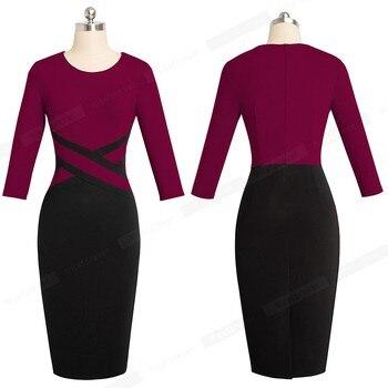 Autumn Women Elegant Patchwork Sheath Bodycon Work Office Business Pencil Dress 5