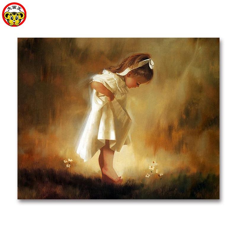 Peinture par numéros artistique bricolage enfants   Peinture par numéros, tableaux décoratifs pour petites filles, jupe blanche, remplissage ange Lolita