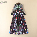 2016 Fashion Print Draped Women Long Pleated Dress Autumn Casual Full Sleeve Empire Ankle-Length Big Swing Female Dress