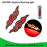 2pcs silica gel can bend led waterproof COB Daytime Running Light red color DC12V DRL headlight fog lamp for all car