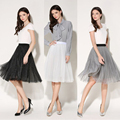 New Womens SKirts Fashion High Waist Elegant Adult Tutu Tulle Skirt Black/White Ladies Girls Midi Pleated Skirt Femme Petticoat