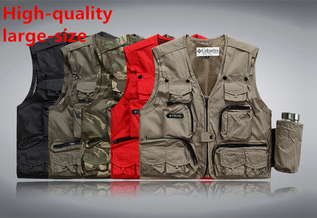 2016 Multifunctional Men's Casual Clothing Vest Multi-Pocket Waistcoat Plus Size Sleeveless Jacket
