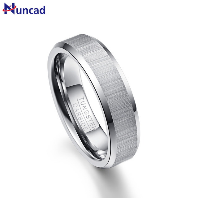 Nuncad Mens 6mm Vertical Brushed Tungsten Carbide Wedding Bands Beveled Engagement Rings Size 7 To 12