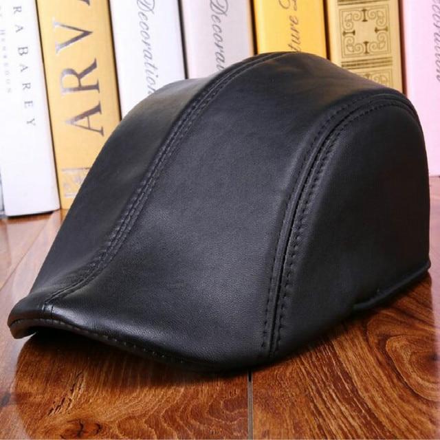 Fashion Unisex Men Women's Hat Spring Autumn Winter Genuine Leather Solid Fashion Black Beret Baseball  Cap