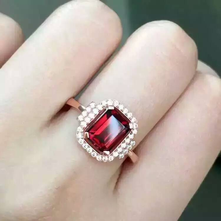 Natural red garnet stone Ring Natural gemstone Ring S925 sterling silver trendy Elegant Square women girl gift Jewelry