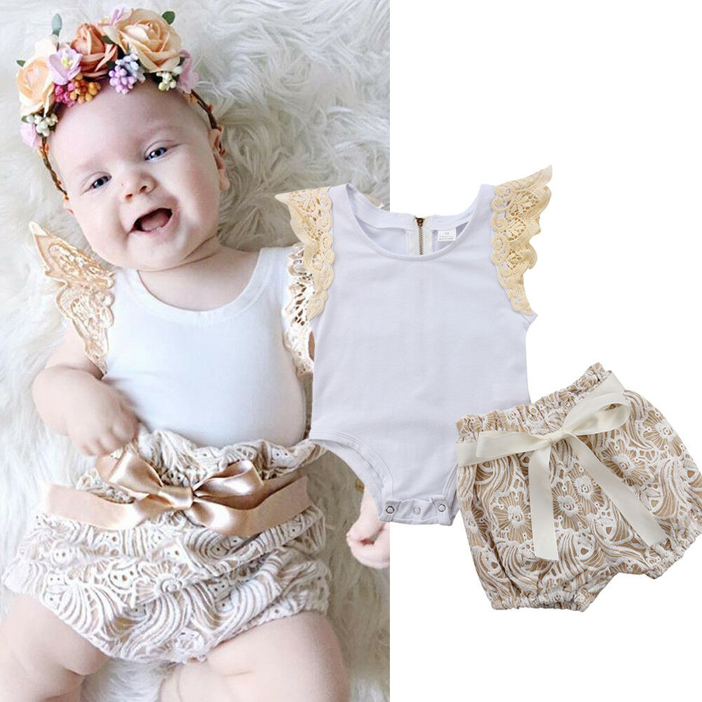 2pcs Baby Girls Clothes Outfits Lace Ruffles Sleeve Back Zipper Romper Tops+Bowknot Lace Floral Shorts Bloomers Shorts Set 0-18M