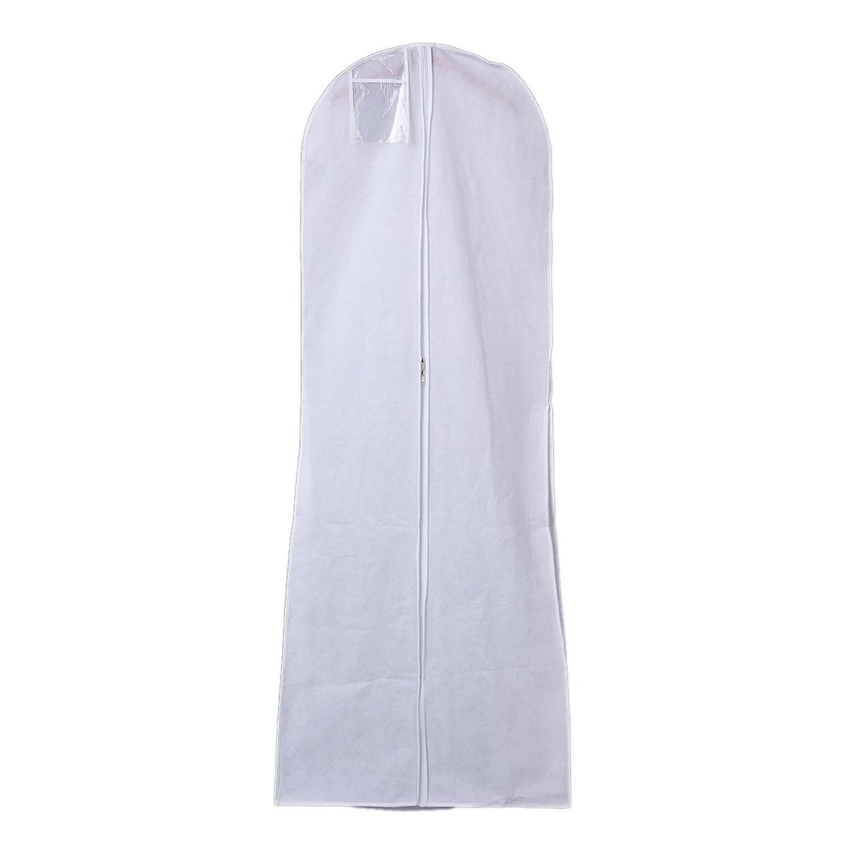 Hanging Wedding Dress Bridal Gown Garment Cover Storage Bag Carry Zip Dustproof White