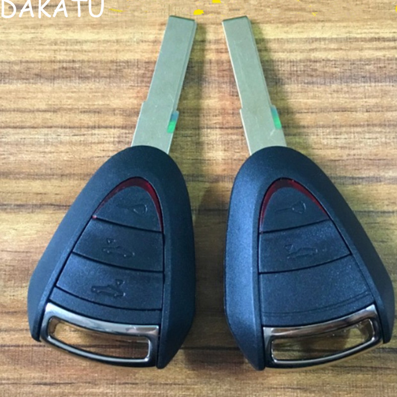 DAKATU 2/3 Buttons Remote Car Key Case Uncut Blade Flip Fob For Porsche Cayenne 996 Boxster S 911 Car Key Shell