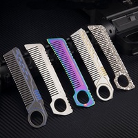 420 stainless steel multi function EDC tools, outdoor tactical defense comb, girls anti wolf self defense supplies