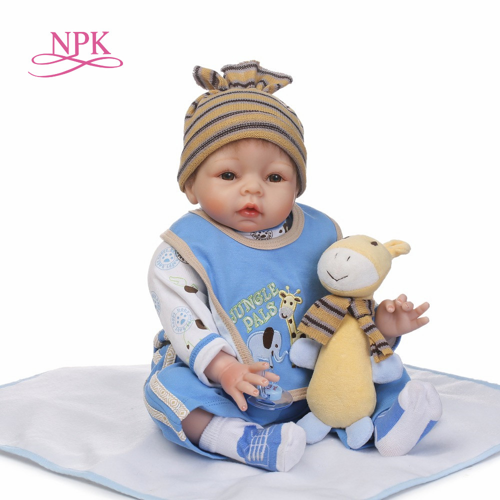 NPK 22inch Cute BeBes Reborn Doll Cotton soft Body Silicone Reborn Baby Dolls Lifelike Newborn child