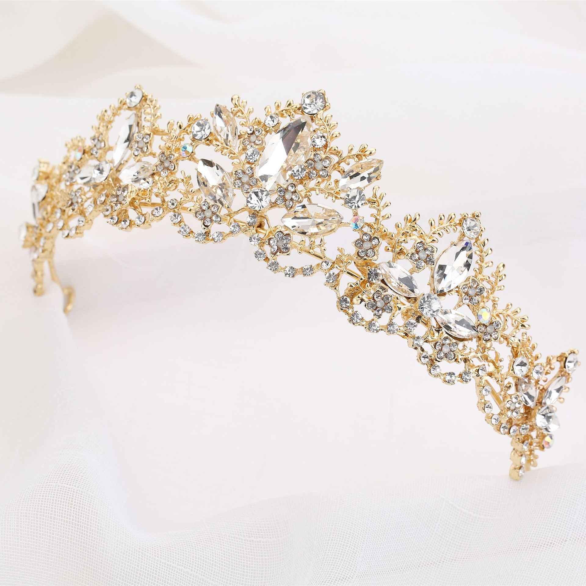 חדש אופנה הבארוק יוקרה קריסטל AB כלה כתר מצנפות אור זהב ניזר מצנפות חתונת כלה נשים שיער אבזרים