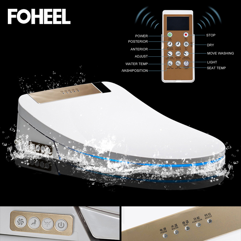 FOHEEL intelligent siège de toilette couverture électronique bidet couverture propre et sec de chauffage de siège wc intelligente LED lumière siège de toilette couverture